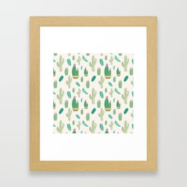 Ivory pastel blush green pink cactus floral Framed Art Print