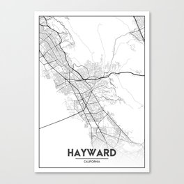 Minimal City Maps - Map Of Hayward, California, United States Canvas Print