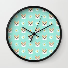 Corgi welsh corgi daisy flowers spring summer florals dog breed pet portrait by pet friendly Wall Clock