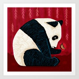 The Panda and the Butterfly Art Print