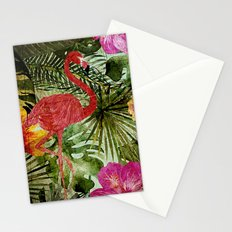Tropical Vintage Exotic Jungle- Floral and Flamingo watercolor pattern on #Society6 Stationery Cards