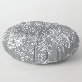 Floral Grey White Floor Pillow