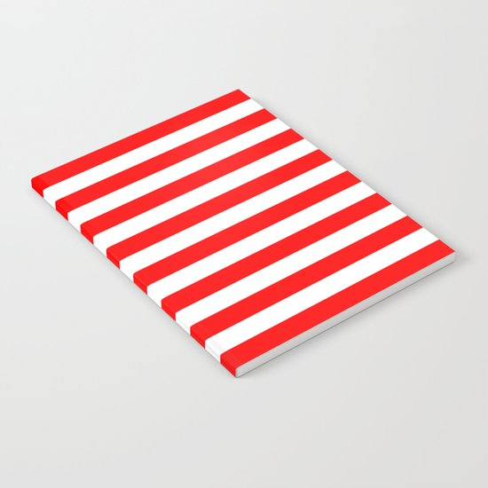 Horizontal Stripes (Red/White) Notebook
