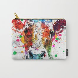 Cow Watercolor Grunge Carry-All Pouch