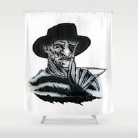 freddy krueger Shower Curtains featuring FREDDY  by shannon's art space