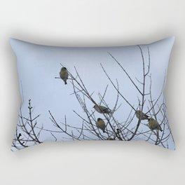 Winter Birds on Bare Branches Rectangular Pillow