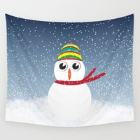 snowman Wall Tapestries featuring Snowman by Miss Cupcakes