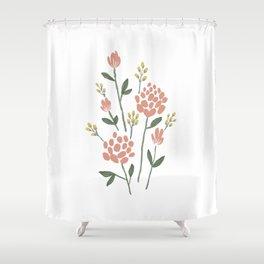 Pink yellow peony Shower Curtain