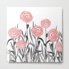 Floral Watercolor Abstract, Cute, Pink and Gray, Floral Prints Metal Print