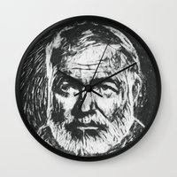hemingway Wall Clocks featuring Ernest Hemingway portrait by Psychedelic Astronaut