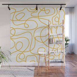 Doodle Line Art | Mustard Yellow Lines on White Wall Mural