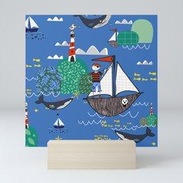 Pirates Ahoy Blue Mini Art Print