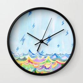 Lightning at Sea Wall Clock