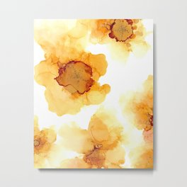 Yellow Sunflower Flower Alcohol Ink Pattern Metal Print