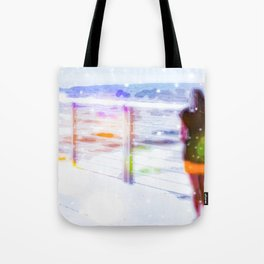 standing alone at the beach with summer bokeh light Tote Bag