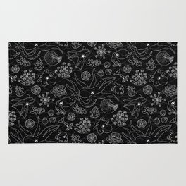 Cephalopods - Black and White Rug