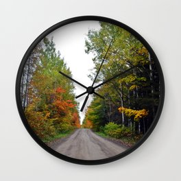Forest Road in the Fall Wall Clock