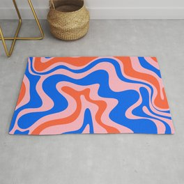 Retro Liquid Swirl Abstract Pattern in Pink, Red-Orange, and Bright Blue Rug