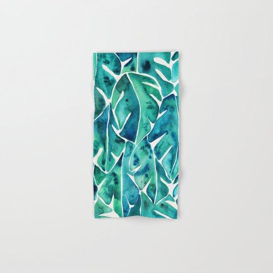 Split Leaf Philodendron – Teal Hand & Bath Towel