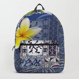 Blue Hawaiian Tapa and Plumeria Backpack