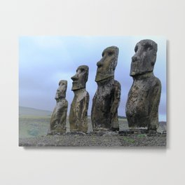 Moais in Easter Island, Chile. Metal Print