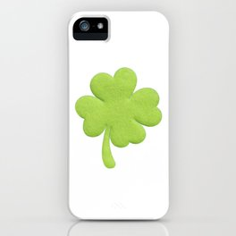 lucky green four leaf clover iPhone Case