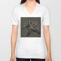 starfish V-neck T-shirts featuring STARFISH by Mary Szulc