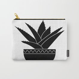 Black and White Agave Succulent Cactus Print Carry-All Pouch