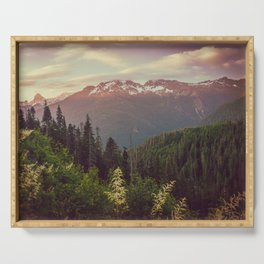 Mountain Sunset Bliss - Nature Photography Serving Tray