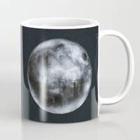dark side of the moon Mugs featuring The Dark Side of the Moon by Viviana Gonzalez