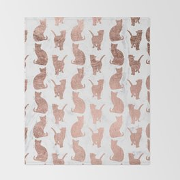 Modern faux rose gold cats pattern white marble Throw Blanket