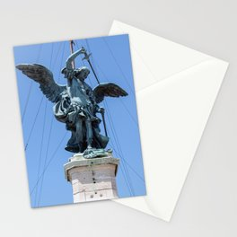 St Michael statue on top of Castel Sant'Angelo in Rome Stationery Cards