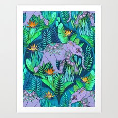 Little Elephant on a Jungle Adventure Art Print