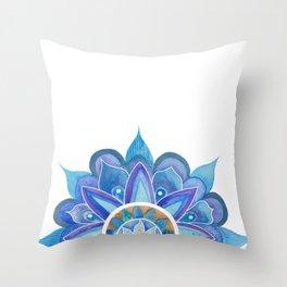 Floral mandala blue Throw Pillow
