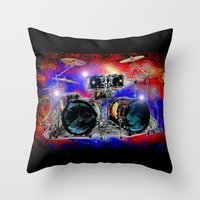 drums Throw Pillows featuring Psychedelic Drums by JT Digital Art