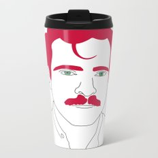 Blue-tooth pink mustache guy Metal Travel Mug