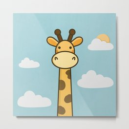 Kawaii Cute Giraffe Metal Print