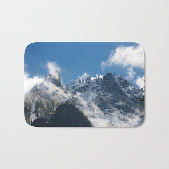 Snow Covered Peaks in Yosemite National Park Bath Mat