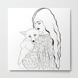 A Girl & Her Fox Metal Print