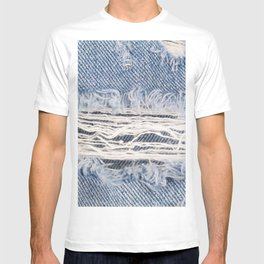 Blue faded ripped jeans, Textures ripped jeans background T-shirt