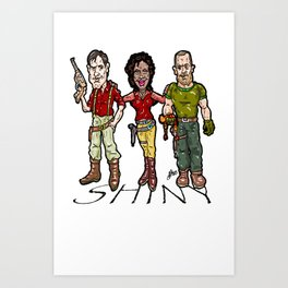 SHINY! Mal, Zoe, and Jayne...  The Larry, Moe, and Curly of space? Firefly and Serenity Art Print