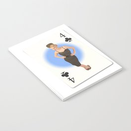 """""""Four of Clubs"""" - Playful Pinup - Retro Girl on Playing Card by Maxwell H. Johnson Notebook"""