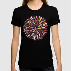 Retro Dahlia Womens Fitted Tee Black LARGE