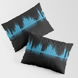 Cool Blue Graphic Equalizer Music on black Pillow Sham