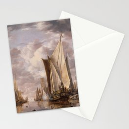 Shipping in a Calm at Flushing with a States General Yacht Firing a Salute 1649 Stationery Cards