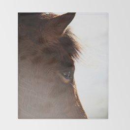 horse portrait Throw Blanket