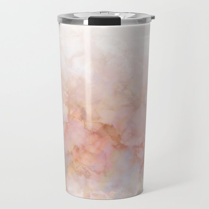 Beautiful Pink and Gold Ombre marble under snow Travel Mug