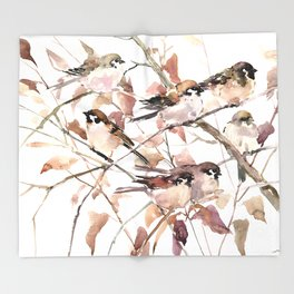 Sparrows in the Fall Throw Blanket