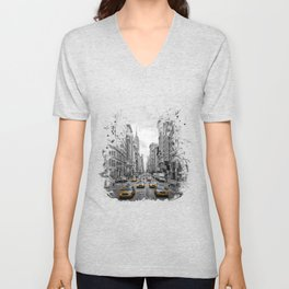 5th Avenue NYC Traffic Unisex V-Neck