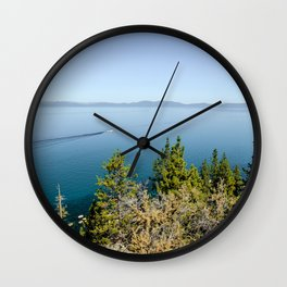 Boating Across Lake Tahoe Wall Clock
